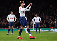 Football - 2018 / 2019 EFL Carabao Cup (League Cup) - Quarter-Final: Arsenal vs. Tottenham Hotspur<br /> <br /> Dele Alli (Tottenham FC)  shows the Arsenal fans the score after a bottle is thrown in his direction at The Emirates.<br /> <br /> COLORSPORT/DANIEL BEARHAM