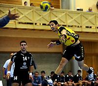 Håndball<br /> Kvalifisering til Champions leauge<br /> 5. September 2009<br /> Haukelandshallen<br /> A1 Bregenz - Partizan<br /> Mirioslav Miric , Partizan<br /> Lucas Mayer , A1 Bregenz<br /> Foto: Astrid M. Nordhaug