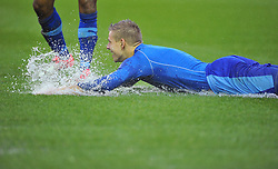 Watford's Matej Vydra slides on the water on the pitch after Referee Michael Naylor calls off the game - Photo mandatory by-line: Joe Meredith/JMP  - Tel: Mobile:07966 386802 26/12/2012 - Bristol City v Watford - SPORT - FOOTBALL - Championship -  Bristol  - Ashton Gate Stadium -