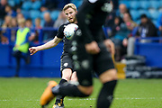 Leeds United midfielder Eunan O'Kane (14) plays the ball forward during the EFL Sky Bet Championship match between Sheffield Wednesday and Leeds United at Hillsborough, Sheffield, England on 1 October 2017. Photo by Simon Davies.