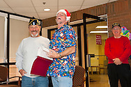 American Legion members sing Christmas songs for veterans at Northport VA Medical Center, New York, on December 10, 2011, in Northport, New York, USA. American Legion post members from Long Island included Malverne Post #44 member (left) and Merrick Post #1282 member (center).
