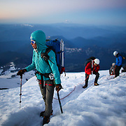 Climbers depart of the final stretch to the summit of Mount Rainier on June 30, 2015. The iconic Pacific Northwest volcano is a popular challenge for mountaineers.  (Joshua Trujillo, seattlepi.com)