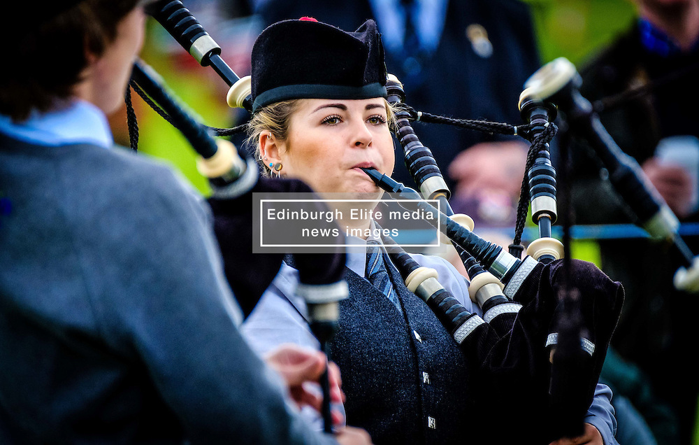 Peebles, Scotland UK  3rd September 2016. Peebles Highland Games, the biggest 'highland' games in the Scottish  Borders took place in Peebles on September 3rd 2016 featuring pipe band contests, highland dancing competitions, haggis hurling, hammer throwing, stone throwing and other traditional events.<br /> <br /> Pictured:  a young female  piper warms up before the competition<br /> <br /> (c) Andrew Wilson | Edinburgh Elite media