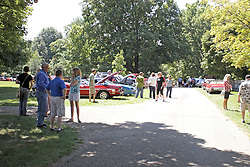03 August 2013:  People and vehicles gather at the car show.<br /> <br /> Displayed at the McLean County Antique Automobile Association Car show at David Davis Mansion in Bloomington Illinois