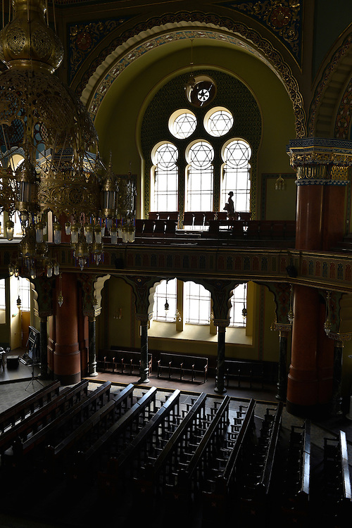A Jewish woman from Germany explores the Sofia Synagogue in Bulgaria. Built in the early 1900s, it is said to be the largest synagogue in southeastern Europe and the third-largest in Europe.