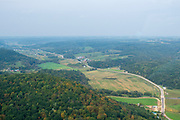 Aerial photograph of rural Wisconsin on a late summer morning. Near Ontario, Vernon County, Wisconsin.