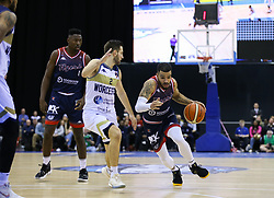 Lewis Champion of Bristol Flyers drives at the Worcester Wolves defence - Photo mandatory by-line: Arron Gent/JMP - 26/01/2020 - BASKETBALL - Arena Birmingham - Birmingham, England - Bristol Flyers v Worcester Wolves - British Basketball League Cup Final