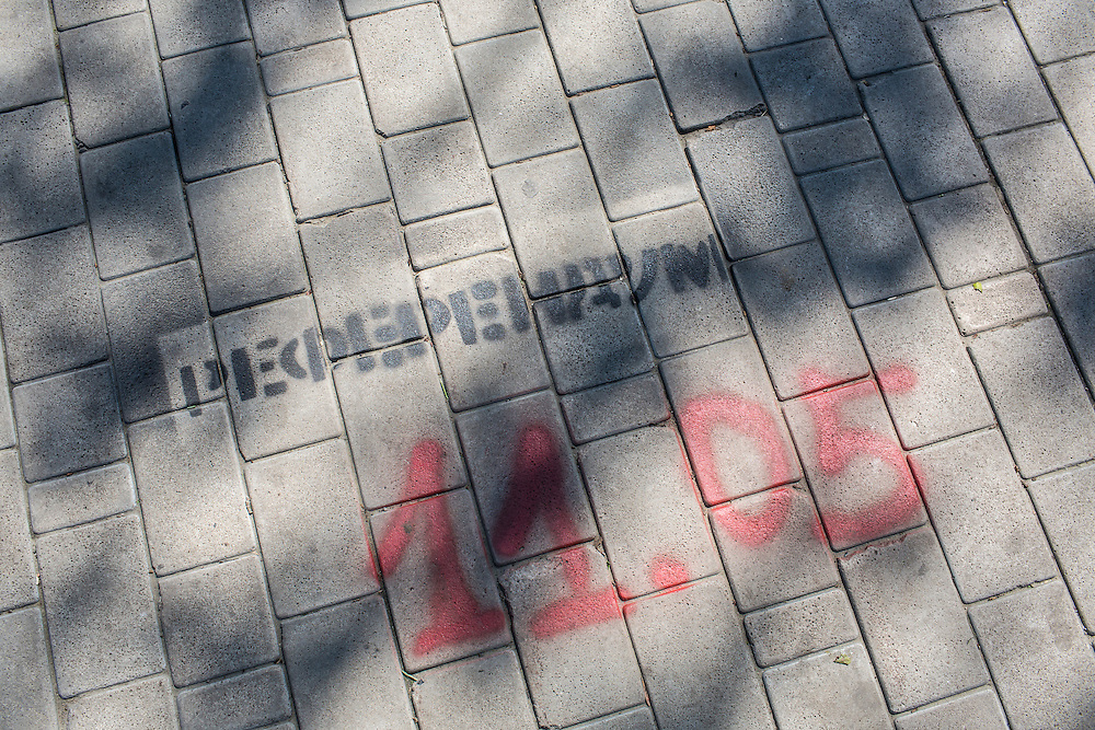 DONETSK, UKRAINE - MAY 7: A message painted on the sidewalk advertises a May 11 referendum seeking greater autonomy from the central government in Kiev May 7, 2014 in Donetsk, Ukraine. Tensions in Eastern Ukraine are high after pro-Russian activists seized control of at least ten cities and ahead of the Victory Day holiday and a planned referendum on greater autonomy for the region. (Photo by Brendan Hoffman/Getty Images) *** Local Caption ***