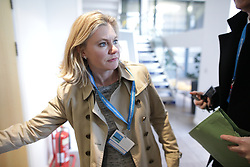 © Licensed to London News Pictures . 17/03/2017 . Cardiff , UK. Justine Greening arrives at the Conservative Party Spring Conference at the SSE SWALEC Stadium in Cardiff . Photo credit: Joel Goodman/LNP