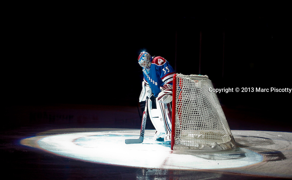 SHOT 3/16/13 12:04:16 PM - The Colorado Avalanche's Jean-Sebastien Giguere #35 prepares to face the Minnesota Wild during their regular season NHL game at the Pepsi Center in Denver, Co. The Minnesota Wild won the game 6-4. (Photo by Marc Piscotty / © 2013)