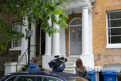 © Licensed to London News Pictures. 16/06/2019. London, UK. Reporters wait outside the home Conservative Party leadership candidate Boris Johnson and his partner Carrie Symonds in south London. All candidates in the leadership race, except Boris Johnson, will appear on a leadership debate TV programme on Channel 4 this evening. Photo credit: Peter Macdiarmid/LNP