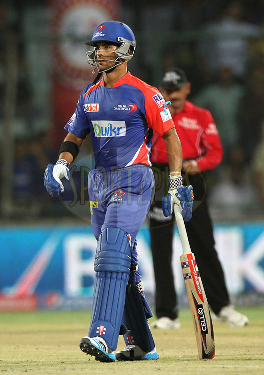 Jean-Paul Duminy of the Delhi Daredevils caught by Rajat Bhatia of the Rajatshan Royals during match 23 of the Pepsi Indian Premier League Season 2014 between the Delhi Daredevils and the Rajasthan Royals held at the Feroze Shah Kotla cricket stadium, Delhi, India on the 3rd May  2014<br /> <br /> Photo by Deepak Malik / IPL / SPORTZPICS<br /> <br /> <br /> <br /> Image use subject to terms and conditions which can be found here:  http://sportzpics.photoshelter.com/gallery/Pepsi-IPL-Image-terms-and-conditions/G00004VW1IVJ.gB0/C0000TScjhBM6ikg