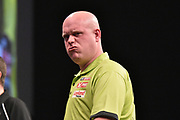 Michael van Gerwen misses a double during the Betway Premier League Darts at the Manchester Arena, Manchester, United Kingdom on 23 March 2017. Photo by Mark Pollitt.