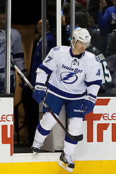 Dec 21, 2011; San Jose, CA, USA; Tampa Bay Lightning defenseman Marc-Andre Bergeron (47) enters the ice before the game against the San Jose Sharks at HP Pavilion. San Jose defeated Tampa Bay 7-2. Mandatory Credit: Jason O. Watson-US PRESSWIRE