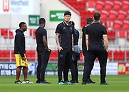 Ragner Sigurdsson (middle) and his Fulham team mates inspect the pitch prior the Sky Bet Championship match at the New York Stadium, Rotherham<br /> Picture by James Wilson/Focus Images Ltd 07709 548263<br /> 01/04/2017