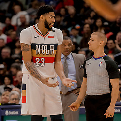 Jan 7, 2019; New Orleans, LA, USA; New Orleans Pelicans forward Anthony Davis (23) appeals to referee Tyler Ford  during the second quarter against the Memphis Grizzlies at the Smoothie King Center. Mandatory Credit: Derick E. Hingle-USA TODAY Sports