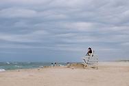 Storm, Couple on Lifeguard Stand, Ponquogue Beach, Hampton Bays, New York