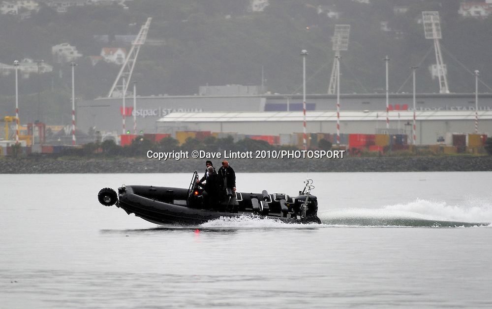 With Westpac Stadium in the background, NZRU chief executive Steve Tew goes for a ride on a Sealegs amphibious craft with Sealegs cheif executive David McKee Wright and chairman Eric Series. NZRU announces new All Blacks sponsor Sealegs at the White House Restaurant, Wellington. Wednesday, 4 August 2010. Photo: Dave Lintott/PHOTOSPORT