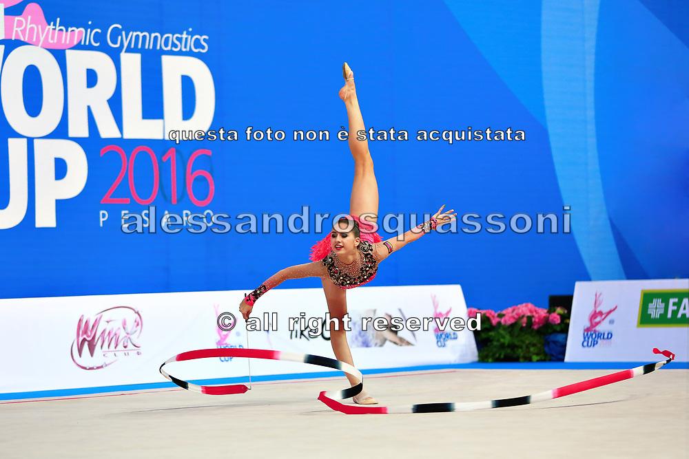 Harutyunyan Lilit during qualifying at ribbon in Pesaro World Cup 2 April 2016. Lilit is an Armenian rhythmic gymnastics athlete born May 5, 1995 in Erevan, Armenia.