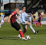 Dundee's Paul Heffernan shuts down St Johnstone&rsquo;s David Wotherspoon - Dundee v St Johnstone, SPFL Premiership at Dens Park <br /> <br />  - &copy; David Young - www.davidyoungphoto.co.uk - email: davidyoungphoto@gmail.com