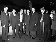 09/04/1961<br /> 04/09/1961<br /> 09 April 1961<br /> Opening of Thurles Drama Festival at Premier Hall Thurles, Co. Tipperary, organised by Muintir na Tíre and Gael Linn.  The Archbishop of Cashel Thomas Morris (far right) and president de Valera (2nd from right) arrive at the Hall.
