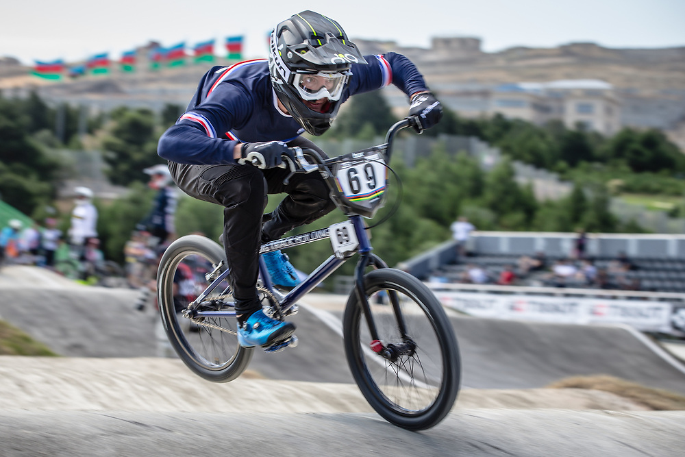 Men Elite #69 (GODET Damien) FRA the 2018 UCI BMX World Championships in Baku, Azerbaijan.