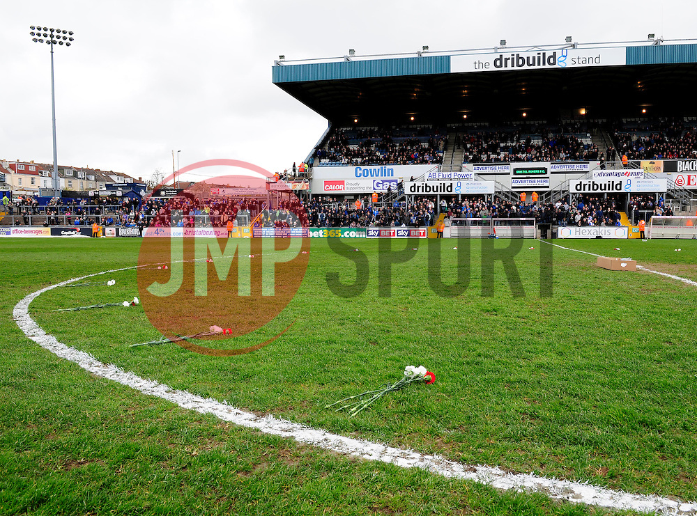 flowers on the pitch  - Photo mandatory by-line: Dougie Allward/JMP - Mobile: 07966 386802 12/04/2014 - SPORT - FOOTBALL - Bristol - Memorial Stadium - Bristol Rovers v Torquay United - Sky Bet League Two