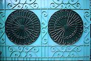 India. Metal gates.<br />Chennai. Tamil Nadu state.