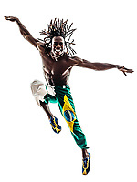 one Brazilian black man dancer dancing jumping on white background