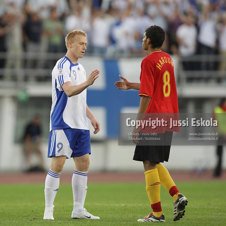Mikael Forssell. Suomi ? Belgia, EM-karsinta, Helsinki, Olympiastadion 6.6.2007. Photo: Jussi Eskola