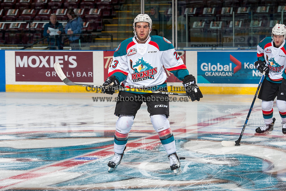 KELOWNA, CANADA - JANUARY 7: Reid Gardiner #23 of the Kelowna Rockets warms up against the Kamloops Blazers on January 7, 2017 at Prospera Place in Kelowna, British Columbia, Canada.  (Photo by Marissa Baecker/Shoot the Breeze)  *** Local Caption ***