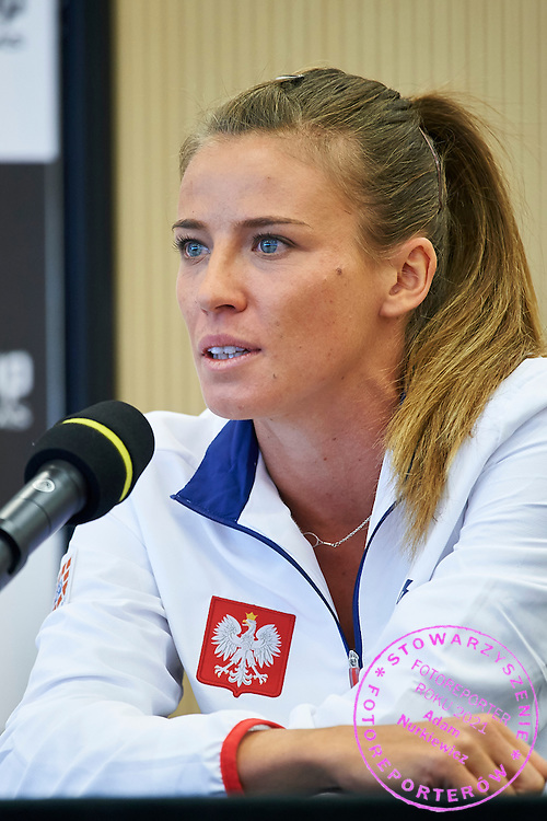 Alicja Rosolska from Poland speaks during official draw one day before the Fed Cup / World Group 1st round tennis match between Poland and Russia at Holiday Inn on February 6, 2015 in Cracow, Poland.<br /> <br /> Poland, Cracow, February 6, 2015<br /> <br /> Picture also available in RAW (NEF) or TIFF format on special request.<br /> <br /> For editorial use only. Any commercial or promotional use requires permission.<br /> <br /> Adam Nurkiewicz declares that he has no rights to the image of people at the photographs of his authorship.<br /> <br /> Mandatory credit:<br /> Photo by &copy; Adam Nurkiewicz / Mediasport