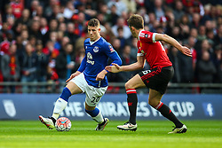 Ross Barkley of Everton under pressure from Michael Carrick of Manchester United - Mandatory byline: Jason Brown/JMP - 07966386802 - 23/04/2016 - FOOTBALL - Wembley Stadium - London, England - Everton v Manchester United - The Emirates FA Cup
