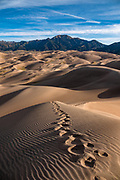 In morning light, dunes rise up to 750 feet tall in Great Sand Dunes National Park and Preserve, on the eastern edge of San Luis Valley, Sangre de Cristo Range, south-central Colorado, USA.