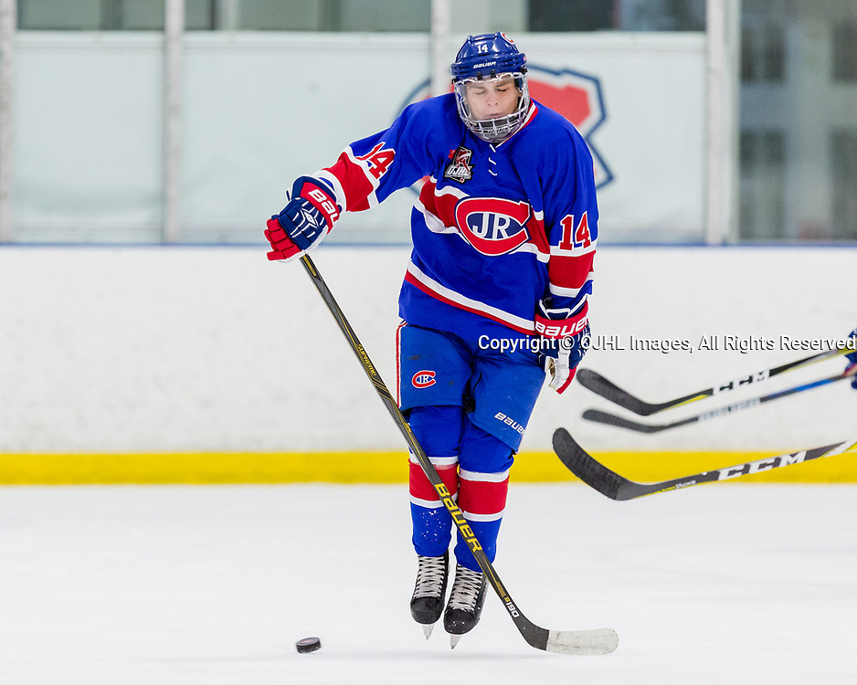 BURLINGTON, ON  - SEP 10,  2017: Ontario Junior Hockey League game between the Toronto Junior Canadiens and the Markham Royals, Mathew Rehding #14 of the Toronto Jr. Canadiens blocks the shot during the third period.<br /> (Photo by Christian Bender / OJHL Images)