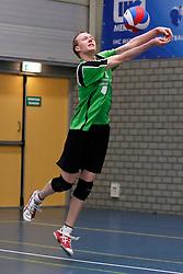 09-02-2013 VOLLEYBAL: NOJK 2013: HALVE FINALES DORDRECHT<br /> In Dordrecht werd de halve finale van de NOJK A Jeugd gespeeld / Voleco<br /> ©2013-FotoHoogendoorn.nl / Pim Waslander