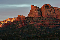 Sunset Panorama Sedona, Arizona. Image 1 of 11 images taken with a Nikon 1 V2 camera and 32 mm f/1.2 lens (ISO 200, 32 mm, f/5.6, 1/40 sec). Raw images processed with Capture One Pro. Panorama generated using AutoPano Giga Pro.
