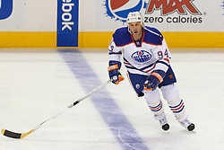 Mar 6, 2012; San Jose, CA, USA; Edmonton Oilers left wing Ryan Smyth (94) warms up before the game against the San Jose Sharks at HP Pavilion. Edmonton defeated San Jose 3-2 in shootouts. Mandatory Credit: Jason O. Watson-US PRESSWIRE