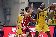Maccabi Tel Aviv Basketball team (Yellow) Playing Hapoel Gilboa-Galil (Red) on October 16th 2011. Final result Maccabi 95 Hapoel 60
