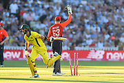 Jos Buttler of England appeals for the run out of Glenn Maxwell of Australia during the International T20 match between England and Australia at Edgbaston, Birmingham, United Kingdom on 27 June 2018. Picture by Graham Hunt.
