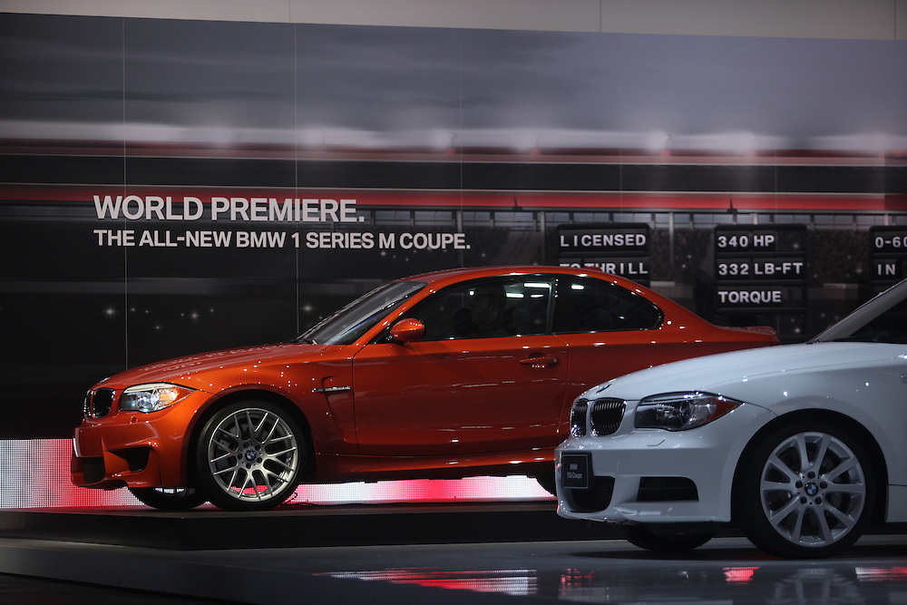 GR --- Detroit, Michigan ---11-01-10--- BMW unveils the new 1 series M coupe at the North American International Auto Show in Detroit, Michigan January 10, 2011.<br /> Geoff Robins AFP