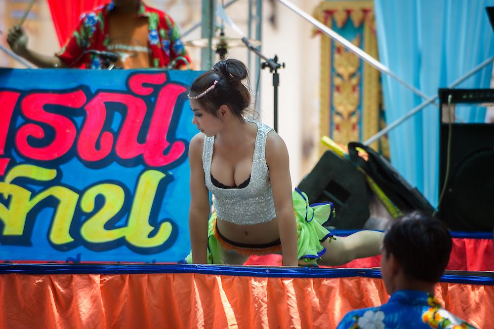 A Thai Dancer at Songkran, Thai New Year, Nakhon Nayok, Thailand.