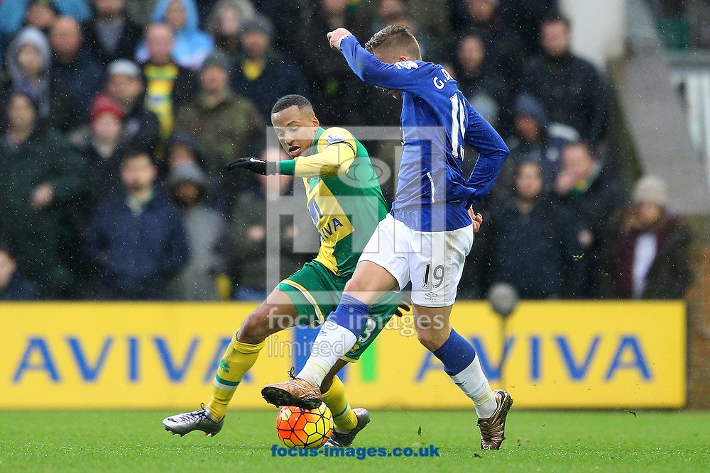 Martin Olsson of Norwich and Gerard Deulofeu of Everton in action during the Barclays Premier League match at Carrow Road, Norwich<br /> Picture by Paul Chesterton/Focus Images Ltd +44 7904 640267<br /> 12/12/2015