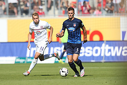 07.08.2016, Voith Arena, Heidenheim, GER, 2. FBL, 1. FC Heidenheim vs FC Erzgebirge Aue, 1. Runde, im Bild Pascal Koepke ( FC Erzgebirge Aue ) Mathias Wittek ( 1.FC Heidenheim ) // during the 2nd German Bundesliga 1st round match between 1. FC Heidenheim and FC Erzgebirge Aue Voith Arena in Heidenheim, Germany on 2016/08/07. EXPA Pictures © 2016, PhotoCredit: EXPA/ Eibner-Pressefoto/ Langer<br /> <br /> *****ATTENTION - OUT of GER*****