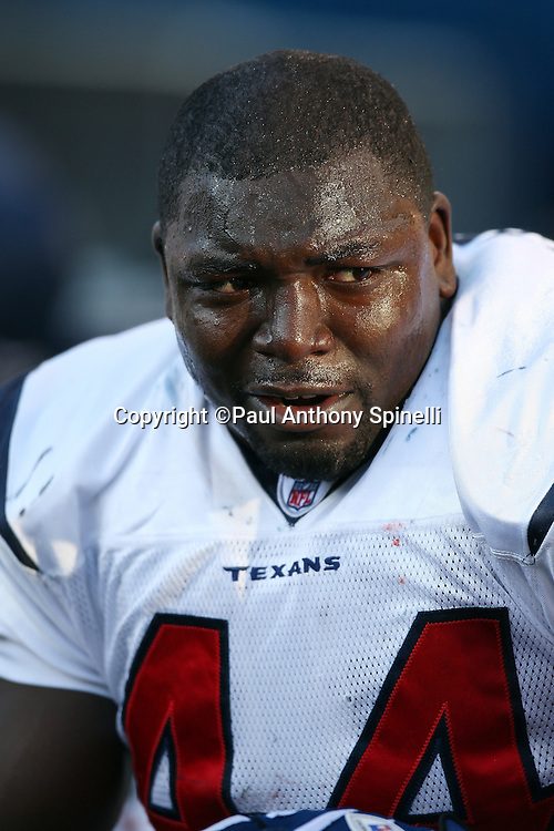 Houston Texans fullback Vonta Leach (44) sweats as he looks on during the NFL football game against the Buffalo Bills, November 1, 2009 in Orchard Park, New York. The Texans won the game 31-10. (©Paul Anthony Spinelli)