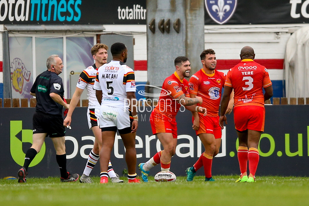 Sheffield Eagles hooker Matty Fozard (9) scores a try and celebrates to make the score 10-12 during the Kingstone Press Championship match between Sheffield Eagles and Bradford Bulls at, The Beaumont Legal Stadium, Wakefield, United Kingdom on 3 September 2017. Photo by Simon Davies.