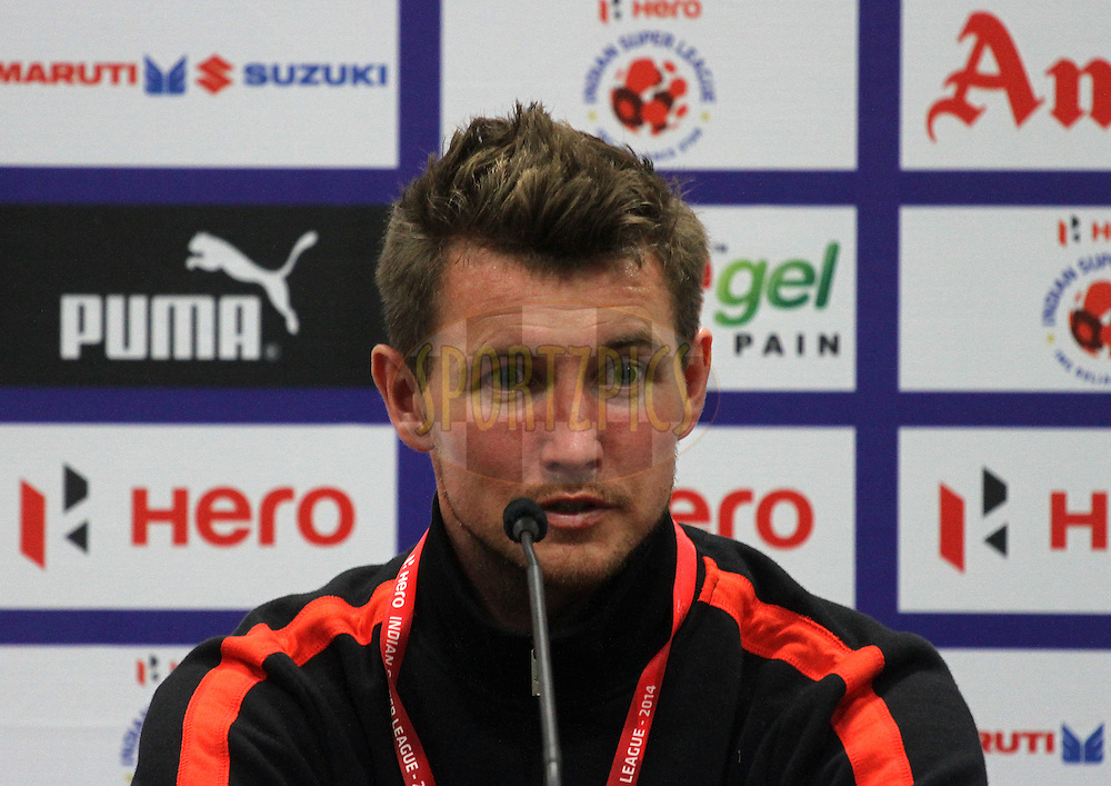 Mads Junker of Delhi Dynamos FC during the press conference of match 22 of the Hero Indian Super League between Mumbai City FC and Delhi Dynamos FC City held at the D.Y. Patil Stadium, Navi Mumbai, India on the 5th November.<br /> <br /> Photo by:  Vipin Pawar/ ISL/ SPORTZPICS