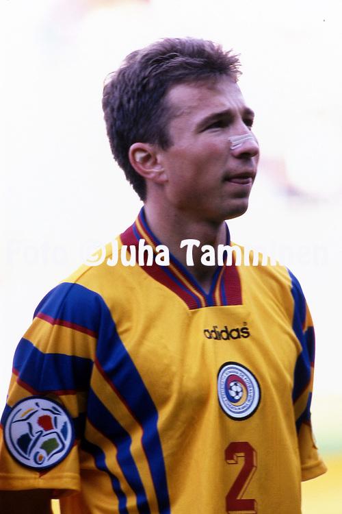 UEFA European Championship - England 1996<br /> 10.6.1996, St. James' Park, Newcastle-upon-Tyne.<br /> Group B, Romania v France.<br /> Dan Petrscu - Romania