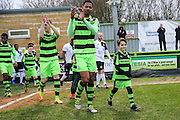 FGR Ambassador with Forest Green Rovers Ethan Pinnock(16) during the Vanarama National League match between Forest Green Rovers and Boreham Wood at the New Lawn, Forest Green, United Kingdom on 11 February 2017. Photo by Shane Healey.