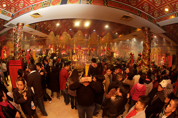 Stock photo of a temple full of people celebrating Chinese New Year in downtown Houston Texas